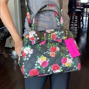 NWT Beautiful Betsey Johnson black floral satchel